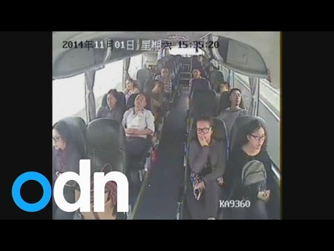 Dramatic footage of knife attack on bus in China