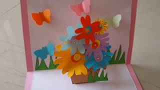 Flower basket pop up card tutorial