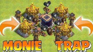 TROLL NOOBS WITH LOOT!!! | Clash of clans | MONIE TRAP!!