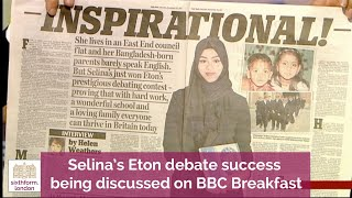 NCS student Selina's Eton win being discussed on BBC News paper review
