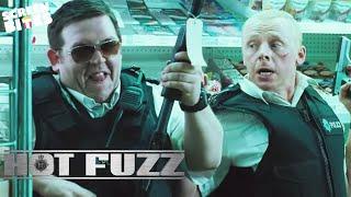 Hot Fuzz - Supermarket Scene. Simon Pegg, Nick Frost, Edgar Wright