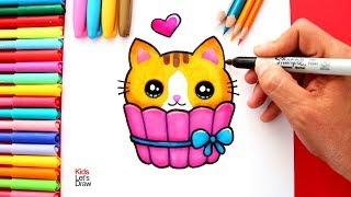 Cómo dibujar un GATITO Bebé Kawaii metido en ENVOLTURA para CUPCAKE | How to draw a Cute Baby Kitten