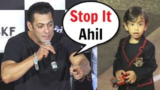 "Salman Khan Shouts On Nephew Ahil ""Stop It"" At Loveratri Trailer Launch"