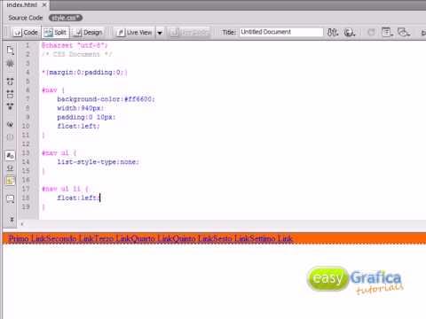 Barra di navigazione con rollover - solo HTML e CSS - Easy Grafica tutorials