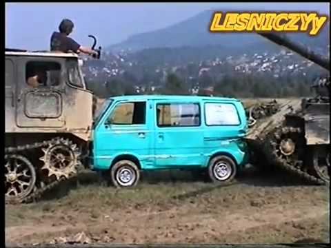 NEW MEGA CRASH Tank & SUZUKI T 55 AM & ATS crushes car.flv