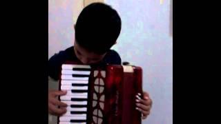 Criança de 7 anos tocando sanfona de Marília SP