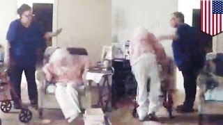 Sad old people stories: Elder abuse caught on camera when caretaker attacks old lady - TomoNews