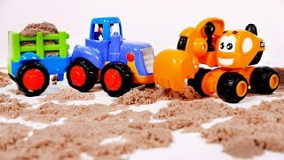 Tractor and Excavator Toy Vehicles Playing in Kinetic Sand Videos for Children and Kids