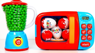 Microwave and Blender Playset filled with Lots of Candy! Surprise Eggs and Toys for Kids