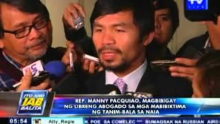 Rep. Pacquiao, magbibigay libreng abugado sa mga mabibiktima ng tanim bala sa NAIA