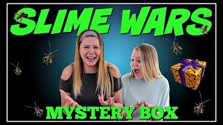 SLIME WARS HALLOWEEN BLINDFOLDED MYSTERY BOX || SIS VS SIS || Taylor & Vanessa