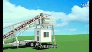 YHZS75A mobile concrete batching plant installation from QINGDAO XINXING CONSTRUCTION MACHINERY.