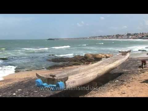 Close look to the traditional South Indian fishing boat - Kanyakumari