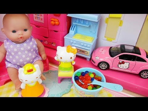 Baby doll and Hello kitty 2 story house and car toys play