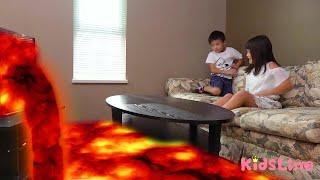 テレビからマグマが!!? 地球を守る!! おゆうぎ 消防士 こうくんねみちゃん THE FLOOR IS LAVA CHALLENGE! Firefighter