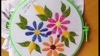 Hand Embroidery Designs # 130 - Wine stitch flower design