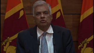 Sri Lanka's prime minister holds a news conference
