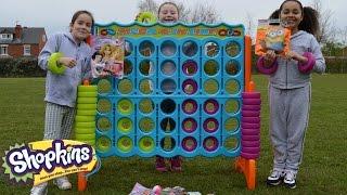 Giant Connect 4 Toy Challenge | Shopkins | Spongebob | Blind Bag Prizes - Toys AndMe
