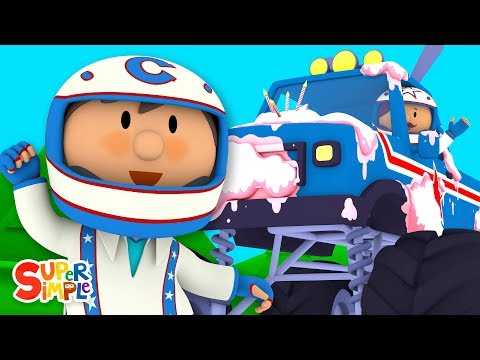 Monty s Monster Truck Is Covered with Cake Carl s Car Wash Cartoons For Kids