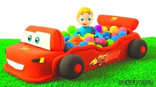 Learn Color with Baby Balls playground surprise eggs MC Queen Car Truck Colors for Children To Learn