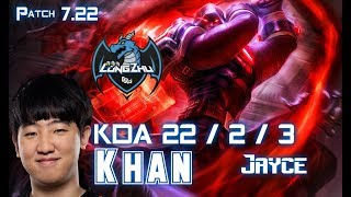 LZ Khan JAYCE vs GANGPLANK Top - Patch 7.22 KR Ranked