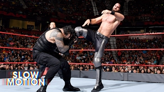 Savage slow-motion video of Roman Reigns and Seth Rollins' Raw main event clash: May 30, 2017