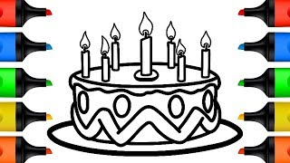 How to Draw Birthday Cake Coloring Pages for Kids Drawing and Learn Colors Video for Children