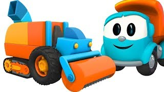Leo the truck & trucks for kids repair the road. Cartoon.