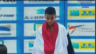 حصول يوسف منصور على الميداليه الذهبيه في بطولة العالم للتايكوندو للناشئين وعزف السلام الوطنى