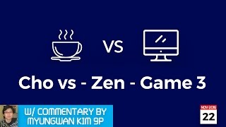 Cho Chikun (b) 9p vs DEEP ZEN GO (w), game 3/3, commentary by Myungwan Kim 9p!
