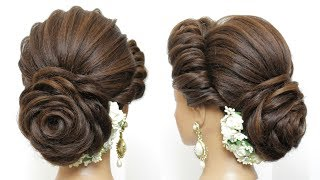 New Latest Hairstyle With Flower Bun. Bridal Updo For Girls And Women