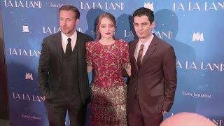 Emma Stone, Ryan Gosling and director Damien Chazelle at the La La Land Premiere