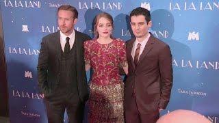 Emma Stone, Ryan Gosling and director Damien Chazelle at the La La Land Premiere