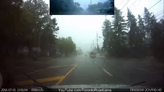 Driving in Toronto -  heavy rain storm July 1 2016