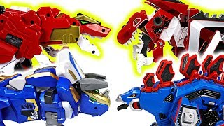 Dino Core Evolution VS Geo Mecha Captaindino! Dinosaur transform robots battle! - DuDuPopTOY