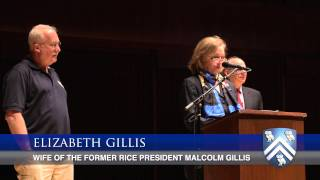 The 2013 Elizabeth Gillis Award for outstanding service at Rice University