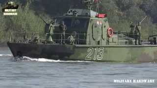 Strained River Military boats on Sava River