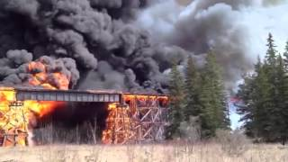 Fire Destroys Canada National Rail Trestle Bridge
