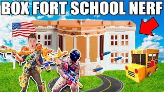 BOX FORT HIGH SCHOOL JOINING THE NERF TEAM!! 📦🚌 Nerf, Robots & School Roleplay