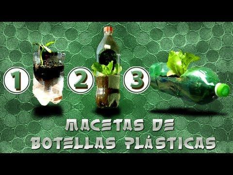 Como hacer Macetas de 3 tipos con botellas plásticas Reutiliza