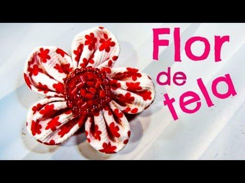 Cómo hacer flores de tela para el cabello o broche. Hair flowers.