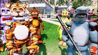 FNAF JAWS vs TIGER ANIMATRONICS! (GTA 5 Mods For Kids FNAF RedHatter)