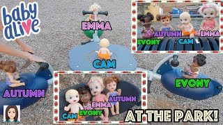 Baby Alives Emma, Cam, Autumn, & Evony Play At Park!
