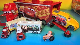 Disney cars 3 lightning mcqueen and tractor cars 3 mack hauler jackson storm tomica hauler
