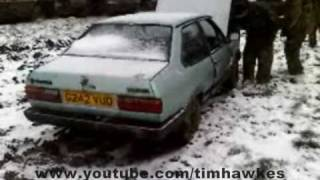 tank crushes VW Polo in the snow almost killing a guy- Car Crush No. 44