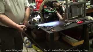 HHO Gas Machine 59 Liters Per Minute Heating Up Massive Thick Copper & Running Water Heater Burner