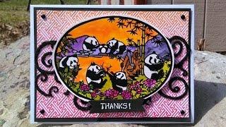 Embossed Watercolor Panda Scene: Stamp School!