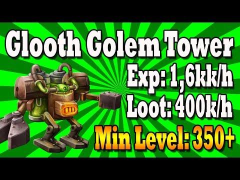 Glooth Golem Tower | Exp 1,6kk/h | EK 350+ | Tibia