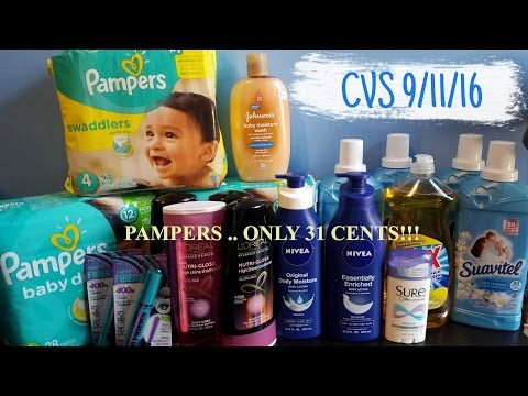 CVS 9/11/16 Couponing | CHEAP DIAPERS!! 99 CENTS NIVEA!!