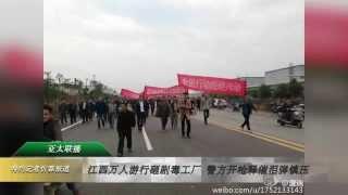 江西万人游行砸剧毒工厂 警方开枪释催泪弹镇压